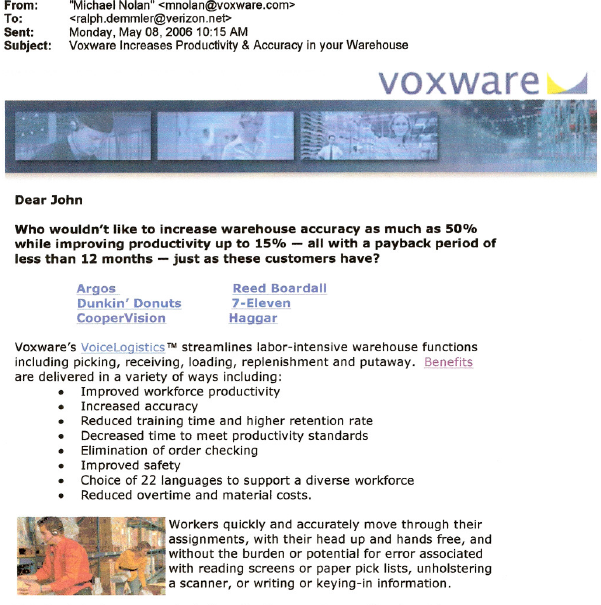 Voxware Email Confirmation after registration